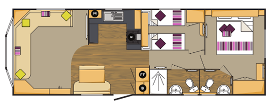 """Typical layout of a """"Super"""" caravan holiday home."""